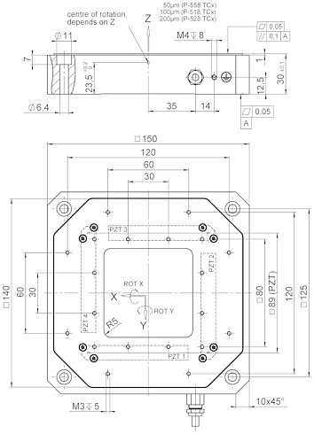 P-518 • P-528 • P-558 Z and tip/tilt stage, dimensions in mm