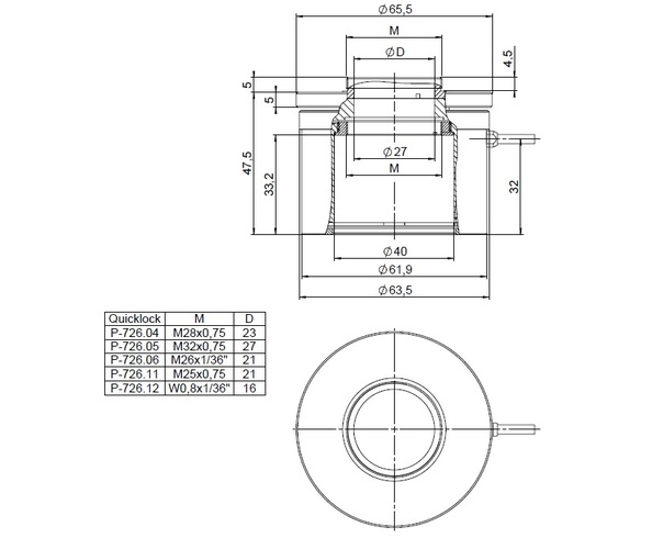 P-726, dimensions in mm with P-726.05 M32 QuickLock adapter