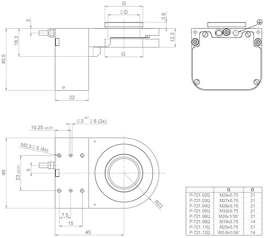 P-725.xCD/.xCL, dimensions in mm (please order adapter set separately)