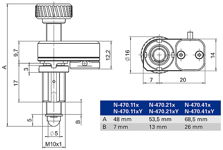 N-470 with mounting thread, dimensions in mm