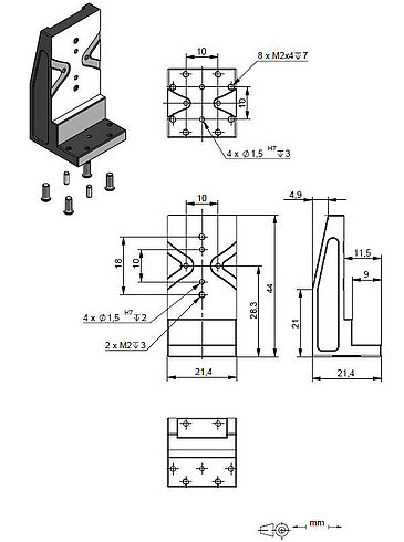 Adapter bracket Q-122.100, dimensions in mm