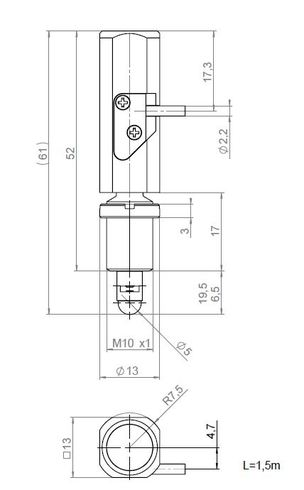 N-412.51, dimensions in mm. Version for mounting on the front via the M10 threaded flange