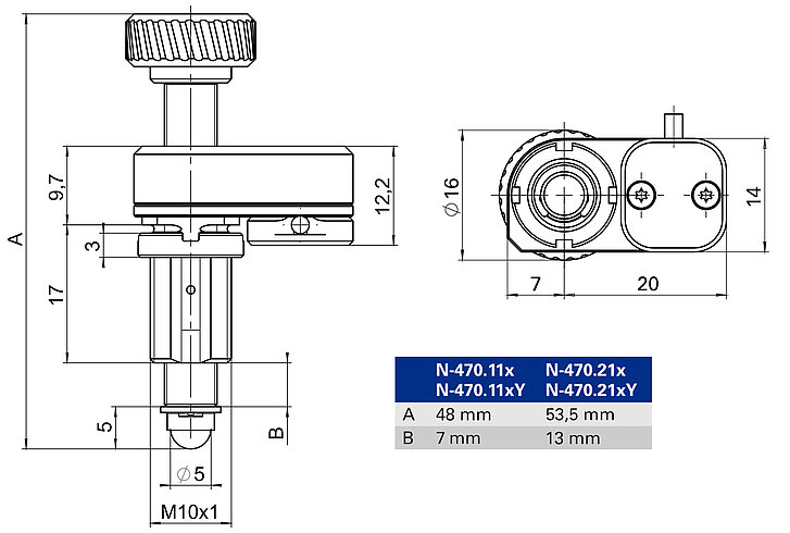 N-470 with mounting thread, dimensions in mm. Note that a comma is used in the drawings instead of a decimal point.. Note that the decimal places are separated by a comma in the drawings.